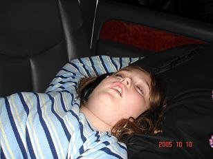 The princess, about 10 hours into the ride home from the roa