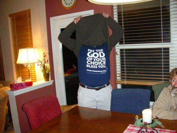 Tom Strange. with his Kinky Friedman t-shirt.